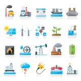 Iconos de la fuente de la electricidad y de energía stock de ilustración