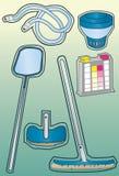 Iconos de la fuente de limpieza de la piscina stock de ilustración