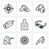 Iconos de la galería de tiroteo Ilustración del vector stock de ilustración