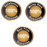 Iconos de la garantía del 100% Foto de archivo