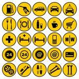 Iconos de la gasolinera Fotografía de archivo libre de regalías
