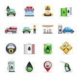 Iconos de la gasolinera fijados stock de ilustración