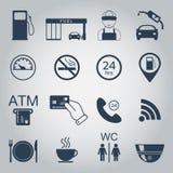 Iconos de la gasolinera Iconos de la silueta del combustible monocromático Vector Imágenes de archivo libres de regalías