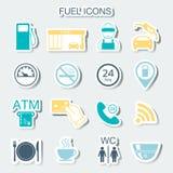 16 iconos de la gasolinera Iconos del combustible stickers Vector Fotos de archivo libres de regalías