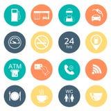16 iconos de la gasolinera Iconos del glyph del combustible color plano Vector Fotografía de archivo libre de regalías