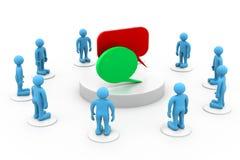 iconos de la gente 3d con las burbujas del discurso Imagenes de archivo