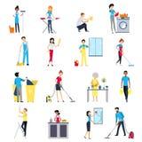 Iconos de la gente de la limpieza fijados