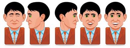 Iconos de la gente del avatar (expresión facial: parpadeo, rotat stock de ilustración