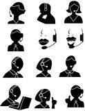 Iconos de la gente del servicio de atención al cliente Imagen de archivo