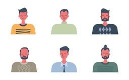 Iconos de la gente Seis retratos de hombres en diseño plano libre illustration