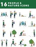 Iconos de la gente y de la naturaleza ilustración del vector