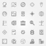 Iconos de la geografía fijados stock de ilustración