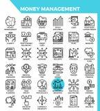 Iconos de la gestión de dinero stock de ilustración