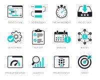 Iconos de la gestión del proyecto fijados Imagen de archivo libre de regalías