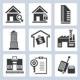 Iconos de la gestión inmobiliaria Imagen de archivo