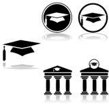Iconos de la graduación ilustración del vector