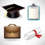 Iconos de la graduación y del trabajo Foto de archivo libre de regalías