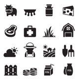 Iconos de la granja de la leche fijados Foto de archivo