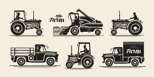 Iconos de la granja fijados Industria agrícola, granjero, máquina segador, tractor, símbolo del camión Ejemplo del vector del vin stock de ilustración