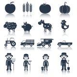Iconos de la granja fijados negros Foto de archivo