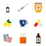 Iconos de la gripe fijados Iconos médicos coloridos en el fondo blanco Imagen de archivo
