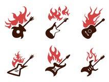 Iconos de la guitarra del fuego fijados Imagen de archivo