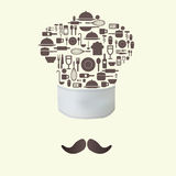 Iconos de la herramienta de la cocina en concepto del sombrero del cocinero Stock de ilustración