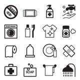 Iconos de la higiene fijados Imagen de archivo libre de regalías