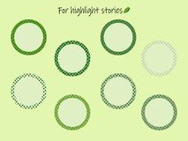 Iconos de la historia de los puntos culminantes con los guisantes verdes para las inscripciones ilustración del vector