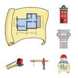 Iconos de la historieta de la arquitectura y de la construcción en la colección del sistema para el diseño Acción del símbolo del Fotografía de archivo libre de regalías