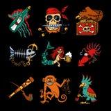 Iconos de la historieta de las leyendas del pirata en fondo negro stock de ilustración