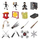 Iconos de la historieta de Ninja fijados Imagenes de archivo