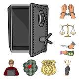 Iconos de la historieta del crimen y del castigo en la colección del sistema para el diseño Ejemplo criminal del web de la acción ilustración del vector