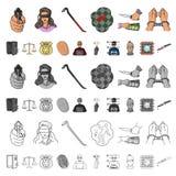 Iconos de la historieta del crimen y del castigo en la colección del sistema para el diseño Ejemplo criminal del web de la acción stock de ilustración