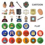 Iconos de la historieta del crimen y del castigo en la colección del sistema para el diseño Ejemplo criminal del web de la acción libre illustration