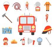Iconos de la historieta del cuerpo de bomberos en la colección del sistema para el diseño Bomberos y web de la acción del símbolo libre illustration