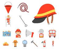 Iconos de la historieta del cuerpo de bomberos en la colección del sistema para el diseño Bomberos y web de la acción del símbolo ilustración del vector