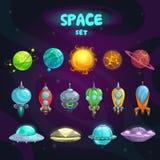 Iconos de la historieta del espacio fijados stock de ilustración