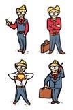Iconos de la historieta del hombre de negocios fijados Imagen de archivo