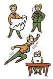 Iconos de la historieta del hombre de negocios fijados Imagen de archivo libre de regalías