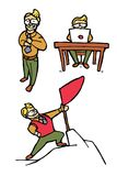 Iconos de la historieta del hombre de negocios fijados Foto de archivo libre de regalías