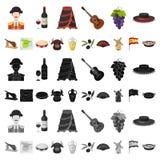 Iconos de la historieta del país de España en la colección del sistema para el diseño El viaje y las atracciones vector el ejempl libre illustration