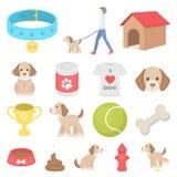 Iconos de la historieta del perro casero en la colección del sistema para el diseño caring ilustración del vector