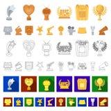 Iconos de la historieta de los premios y de los premios de la película en la colección del sistema para el diseño El web de la ac stock de ilustración