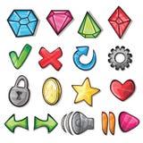 Iconos de la historieta para la interfaz de usuario del juego Fotografía de archivo libre de regalías