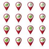 Iconos de la hoja con el icono de la ubicación Imagenes de archivo