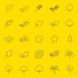 Iconos de la hoja y de la hilera de árboles Fotos de archivo libres de regalías