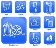 Iconos de la hospitalidad y de los media Fotografía de archivo libre de regalías