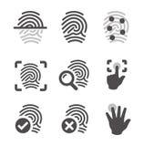 Iconos de la huella dactilar Fotos de archivo libres de regalías