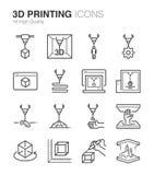 iconos de la impresión 3D stock de ilustración